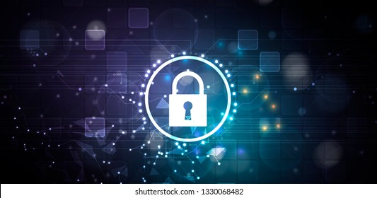 Cybersecurity and information or network protection. Future cyber technology web services for business and internet project