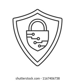 Cybersecurity linear icon. Safeguard. Shield with closed padlock inside. Thin line illustration. Artificial intelligence. Contour symbol. Vector isolated outline drawing. Editable stroke