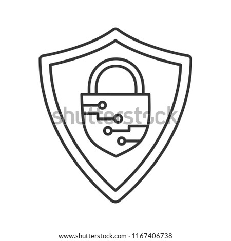 Cybersecurity Linear Icon Safeguard Shield Closed Stock Vector