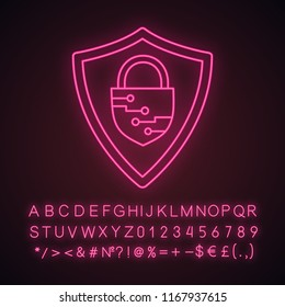 Cybersecurity neon light icon. Safeguard. Shield with closed padlock inside. Artificial intelligence. Glowing sign with alphabet, numbers and symbols. Vector isolated illustration