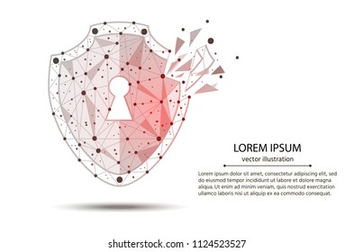 Cyber-Security Technology. Security Violation. shield, created from lines and points with elements of destruction. Isolated from low poly wireframe on white background. Vector abstract polygonal.
