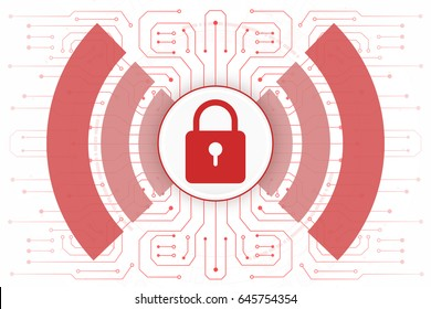 Cybersecurity of wi-fi internet network locking red color on white background.vector illustration
