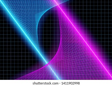 Cyberspace Futuristic Grid Lines with Neon 3D Glow Lights, Abstract Background Tomorrow Aesthetic Digital Style, Space Technology Grids, Eps10 Vector Illustration - Vector