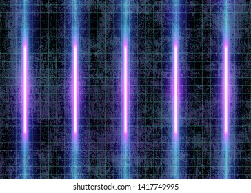 Cyberspace Futuristic Neon Lights and Grid Lines on the Wall, 3D Glow Lights, Abstract Background Tomorrow Aesthetic Digital Style, Eps10 Vector Illustration - Vector
