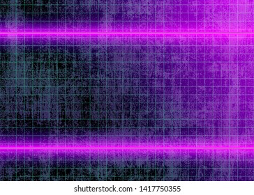 Cyberspace Futuristic Neon Lights and Grid Lines on the Dirty Wall, Technology 3D Glow Lines, Abstract Background Tomorrow Aesthetic Digital Style, Eps10 Vector Illustration - Vector