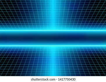 Cyberspace Grid Lines with Futuristic Neon Lights and Energy 3D Glow Lines. Abstract Space Background. Cosmic Digital Style. Eps10 Vector Illustration - Vector