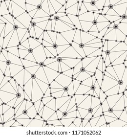 Cyberspace mesh background with polygonal geometry seamless pattern. Technology net vector format.