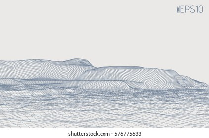Cyberspace relief from a grid on a light background. Abstract vector illustration. Wireframe perspective terrain.