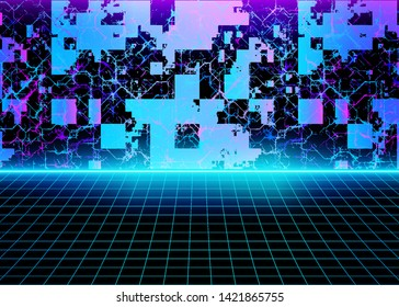 Cyberspace Surface, Digital Futuristic Retro Background with Abstract 3D Neon Glow Lights and Grid Lines, Technology Landscape. Virtual Reality Room, Sci-Fi Style. Eps10 Vector Illustration - Vector