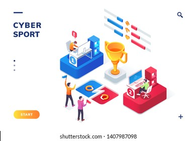 Cybersport arena with gamers, isometric view. Online game tournament in player vs player format. Fans at cyber sport competition, winner cup. E-sport web landing page for smartphone. Competition