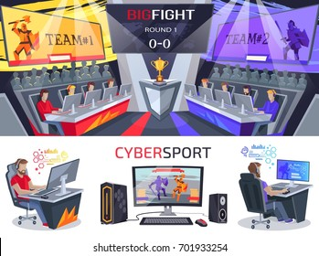 Cybersport big fight poster in electronic gaming concept. Championship on video games on pc and notebooks with fighting players, international league