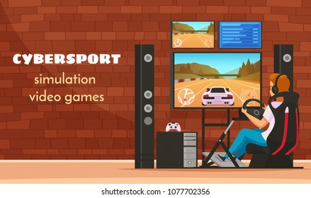 Cybersport cartoon young man character composition with teenager playing realistic car driving simulator video game vector illustration
