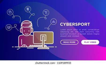 Cybersport concept: gamer in headset playing on PC. Thin line icons: RPG, gamepad, mouse, keyboard. Modern vector illustration, web page template on gradient background.