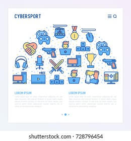 Cybersport concept in half circle with thin line icons: gamer, computer games, pc, headset, mouse, game controller. Modern vector illustration for banner, web page, print media.