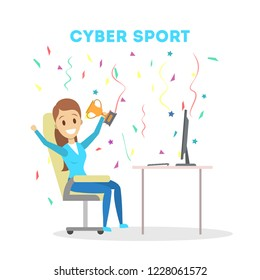 Cybersport female player or gamer sitting at computer pc monitor with trophy cup. Playing game in internet. Online match. Isolated flat vector illustration