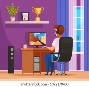 Cybersport gaming character cartoon composition with young man wearing headset in front of desktop computer vector illustration