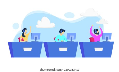Cybersport player or gamer sitting at computer pc monitor. Playing game in internet. Online match. Isolated flat vector illustration