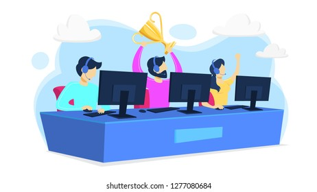 Cybersport player team or gamer sitting at computer pc monitor with trophy cup. Playing game in internet. Online match. Isolated flat vector illustration