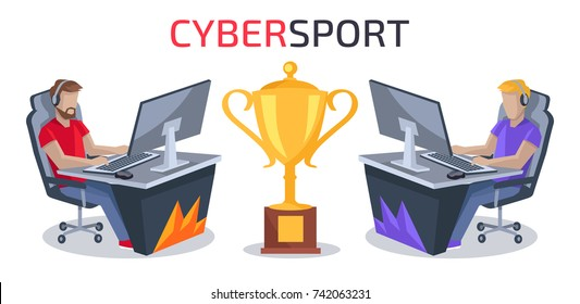 Cybersport player vs player battle with two gamers playing computer game competing for golden prize. Vector illustration with sportsmen isolated on white