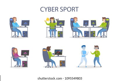 Cybersport playing set. People with computers winning and fighting.