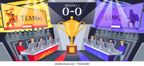 Cybersport team competition with two teams of gamers playing first round of game. Vector illustration with golden cup in center of hall