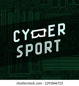 Cybersport text icon with virtual reality glasses B on circuit board background