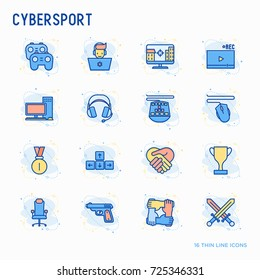 Cybersport thin line icons set: gamer, computer games, pc, headset, mouse, game controller. Modern vector illustration.