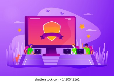 Cybersport tournament, video game championship. Professional players rivalry, online match. E-sports team, group of gamers, pro gamers team concept. Vector isolated concept creative illustration