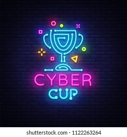 Cybersport Vector Cup emblem. Cyber Cup neon sign, design template for Cyber Championship, Gaming Industry, Light banner, Bright Neon advertisement. Vector illustration