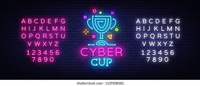 Cybersport Vector Cup emblem. Cyber Cup neon sign, design template for Cyber Championship, Gaming Industry, Light banner, Bright Neon advertisement. Vector illustration. Editing text neon sign