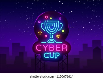 Cybersport Vector Cup emblem. Cyber Cup neon sign, design template for Cyber Championship, Gaming Industry, Light banner, Bright Neon advertisement. Vector illustration. Billboard