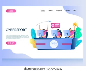 Cybersport vector website template, web page and landing page design for website and mobile site development. Professional gamers playing online video game in front of computer monitor screens.