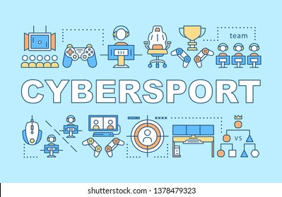 Cybersport word concepts banner. Esports tournament organizing. Computer games competition. Presentation, website. Isolated lettering typography idea with linear icons. Vector outline illustration