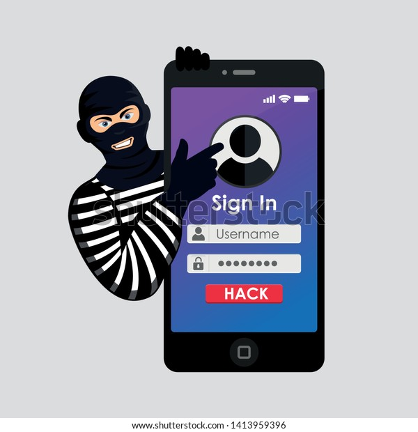 Cyberthief Internet Cheater Thief Hacker Mask Stock Vector (Royalty
