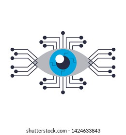 cyborg eye with eletronic circuit icon cartoon isolated vector illustration graphic design