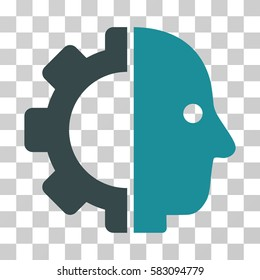 Cyborg Head vector pictogram. Illustration style is a flat iconic bicolor soft blue symbol on a transparent background.
