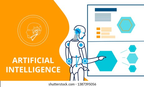 Cyborg Making Presentation Vector Banner Template. Artificial Intelligence Linear Illustration. Computerized Data Management Flat Typography. Cartoon Robot Preparing Statistics Report