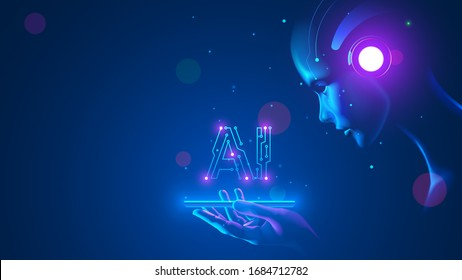 Cyborg woman look at logo AI hanging over phone. Abbreviation AI consists pcb elements.