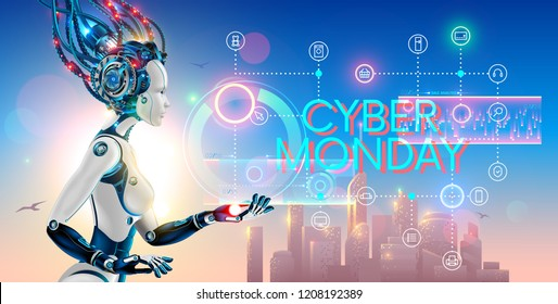 Cyborg woman show hologram with text cyber monday and icons online internet store. Robot advertising event sale promotion banner of e-commerce.