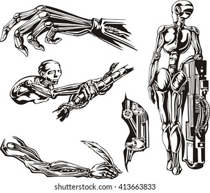 Cyborgs Biomechanics Set. Black and white vector illustrations.