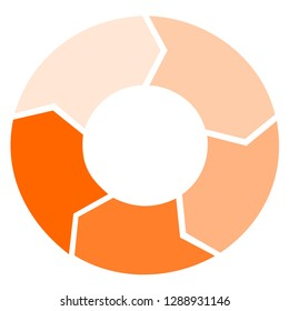 Cycle arrow flow chart orange on white blackground, Vector circle chart design, modern template for creating infographics, presentations, reports, visualizations.  Design by Inkscape.