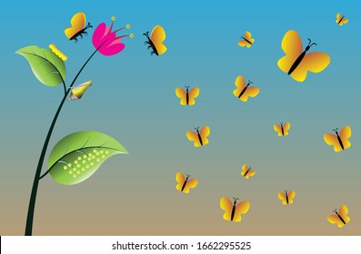 Cycle of butterfly's life, eggs of butterfly on leave, Caterpillar eating leaves, pupa is hanging on plant, butterflys are flying,  Butterflies swarming flowers