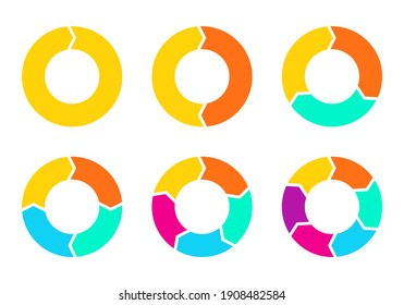 Cycle diagram with arrows set. 1,2,3,4,5,6 steps pie chart or circle graph. Business presentation concept. Vector illustration.