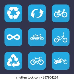 Cycle icon. set of 9 filled cycle icons such as bicycle, recycle, update, eternity, motorcycle