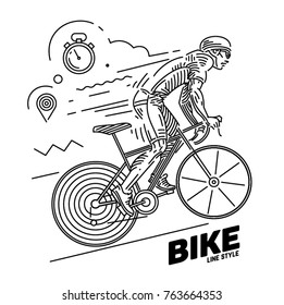Cycle race. Dynamic pose. Vector illustration on the linear outline style
