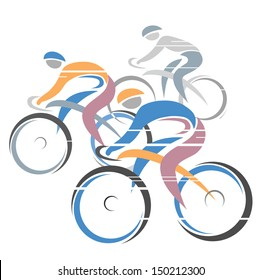 Cycle race.Colorful cycling race with three bike riders. Vector illustration.