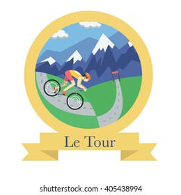 Cycle racing flat badge with beautiful landscape. Le Tour de France.