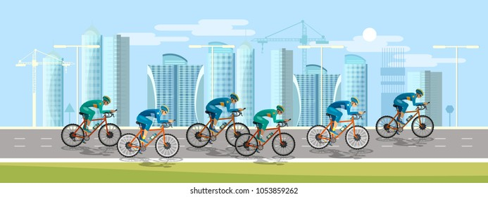 Cycle racing people on bicycles group of cyclists man in road sport background. Group of cyclist at professional race banner