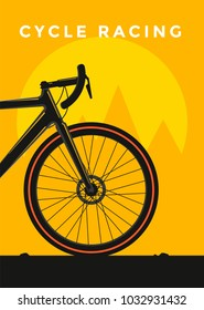 Cycle racing sport poster design. Vector flat illustration