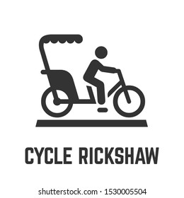 Cycle rickshaw or bike taxi icon with velotaxi and driver, human powered pedicab or carry bikecab for hire symbol.